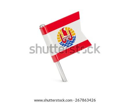 Flag pin of french polynesia isolated on white - stock photo