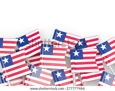 Flag pin of liberia isolated on white