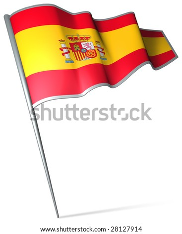 Flag pin - Spain - stock photo