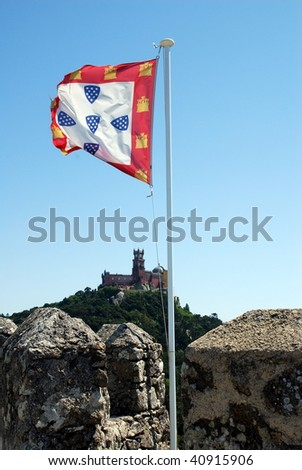 Flag Sintra Castle (Castelo dos Mouros), defensive wall and tower,  Portugal - stock photo