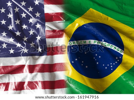Flag symbolizing the relationship between USA and Brazil  - stock photo