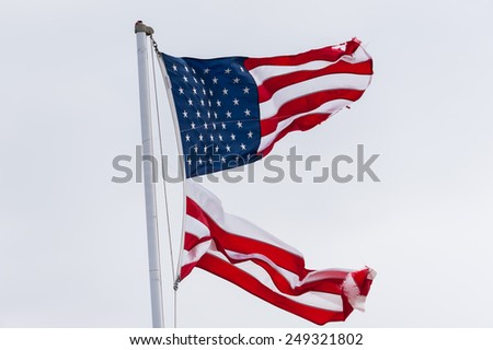Flag, USA divided 2 - stock photo