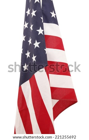 flag usa hanging on white - stock photo