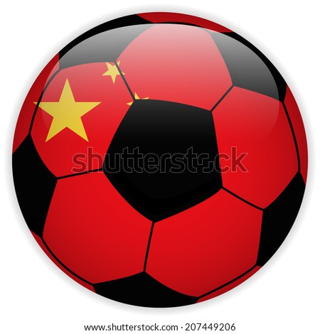Flag with Soccer Ball Background