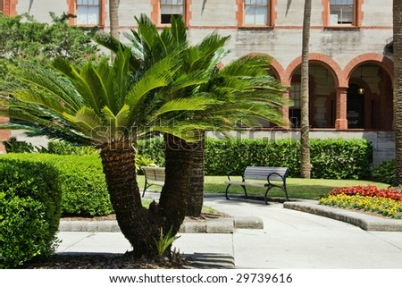 Flagler College courtyard- St. Augustine, FL, USA - oldest city in US - stock photo
