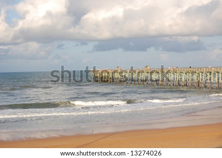 Flagler Pier landscape with people fishing - stock photo