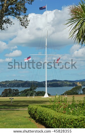 Flagpole at Waitangi Treaty House, the site of the signing of the Treaty Of Waitangi in 1840 - stock photo