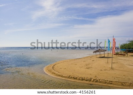 flags and a hut - stock photo