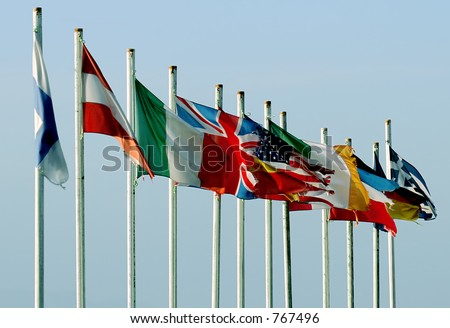 Flags from all over the world - stock photo