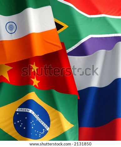 flags from brazil,india,china,russia and southafrica