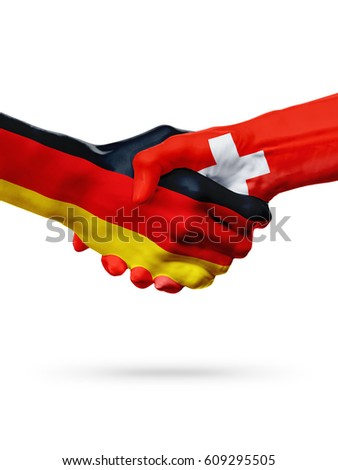 Flags Germany, Switzerland countries, handshake cooperation, partnership, friendship or sports team competition concept, isolated on white