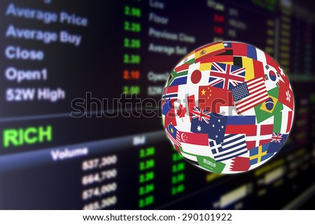 Flags globe over the display of daily activities on stock market quotations. Global stock market investment concept. - stock photo