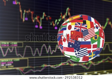 Flags globe over the display of daily stock market chart of financial instruments analysis including Japanese candlestick and Stochastic momentum analysis. Global stock market investment concept. - stock photo