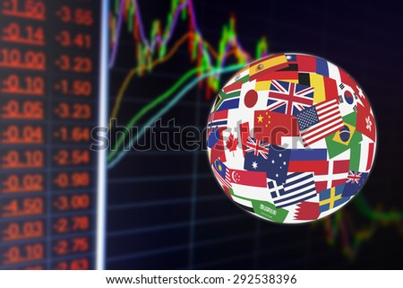 Flags globe over the display of daily stock market chart of financial instruments analysis including worst stock impact with trend line analysis. Global stock market investment concept. - stock photo
