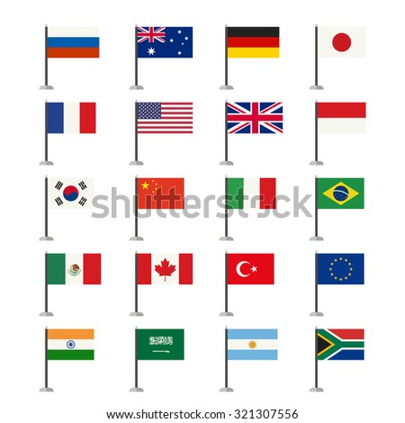 Flags icons of the countries in flat style. Raster version.