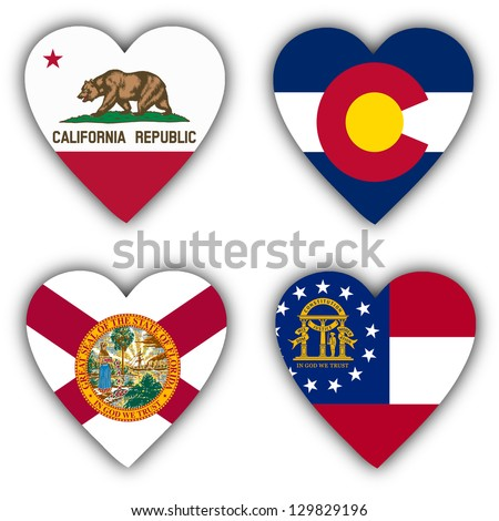 Flags in the shape of a heart, 4 different US states - stock photo