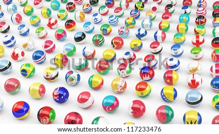 Flags of a large number of sovereign states projected as spheres on a white background. - stock photo