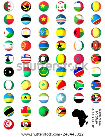 Flags of Africa complete set, white background - stock photo