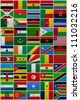 Flags of all African countries on a sackcloth background - stock vector