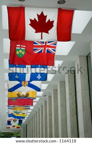Flags of all Canadian provinces - stock photo