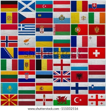 Flags of all European countries on a sackcloth background - stock photo