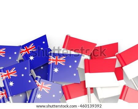 Flags of Australia and Indonesia isolated on white. 3D illustration