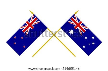 Flags of Australia and New Zealand, 3d render, isolated on white - stock photo