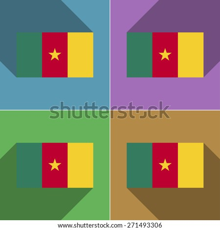 Flags of Belgium. Set of colors flat design and long shadows. illustration - stock photo
