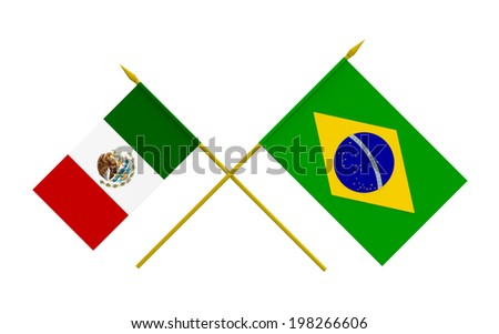 Flags of Brazil and Mexico, 3d render, isolated - stock photo