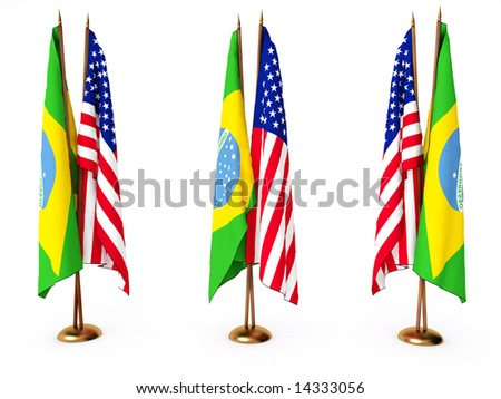 flags of Brazil and the United State isolated white - stock photo