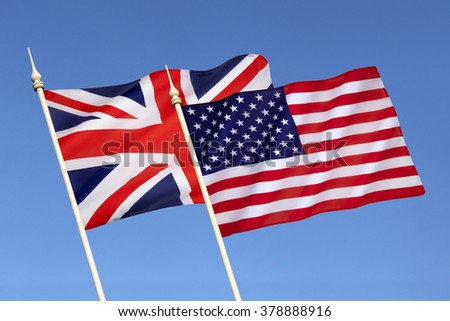 Flags of Britain and the United States of America - Since 1940 they have been close military allies enjoying the Special Relationship built as wartime allies, and NATO partners.
