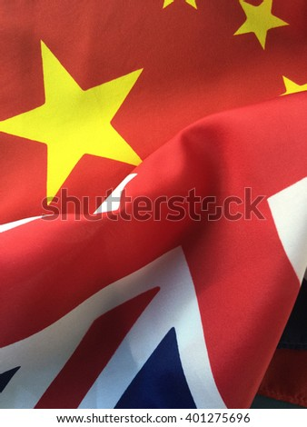 Flags of China and Great Britain - stock photo