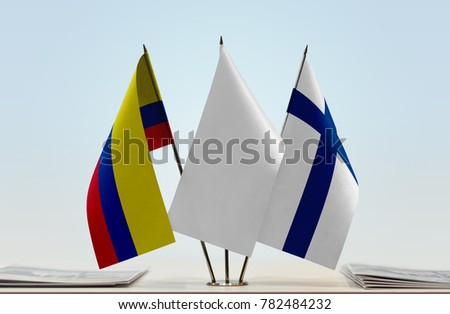 Flags of Colombia and Finland with a white flag in the middle