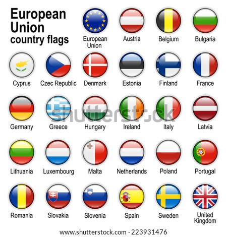 Flags of countries - members of European Union - stock photo
