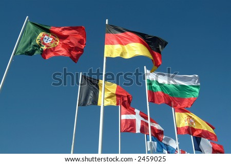 Flags of countries waving to the wind - stock photo