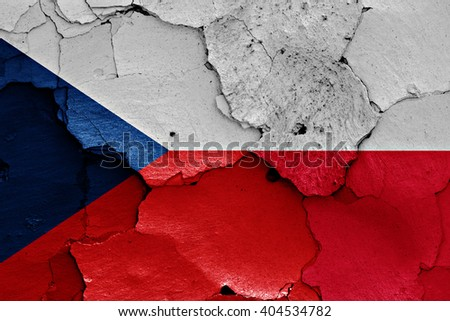 flags of Czech Republic and Poland painted on cracked wall - stock photo