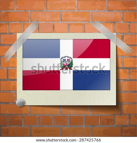 Flags of Dominican Republic scotch taped to a red brick wall.  Rasterized version - stock photo