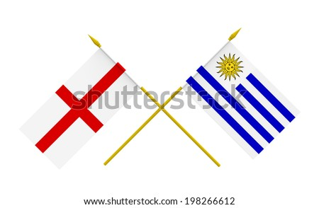 Flags of England and Uruguay, 3d render, isolated - stock photo