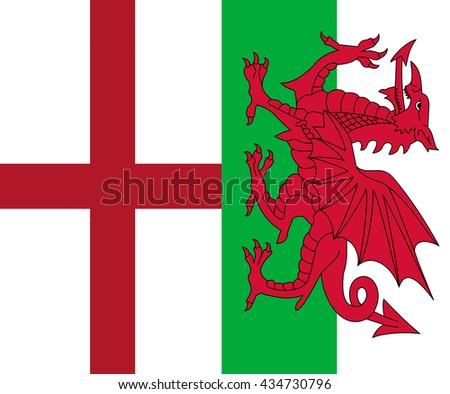 Flags of England and Wales countries within the United Kingdom of Great Britain - stock photo