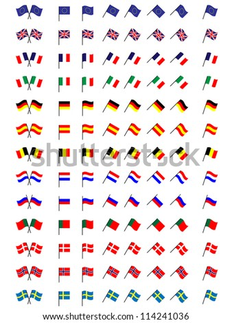 Flags of Europe 1 (No Coats of Arms) - stock photo