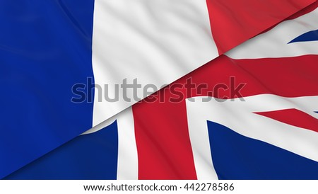 Flags of France and the United Kingdom - Split French Flag and British Flag 3D Illustration - stock photo