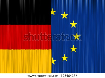 Flags of Germany and European Union depicted as closed curtain - stock photo