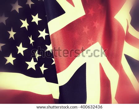 Flags of Great Britain and the United States - stock photo