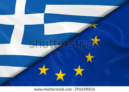 Flags of Greece and the European Union Divided Diagonally - 3D Render of the Greek Flag and EU Flag with Silky Texture