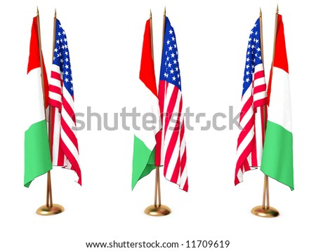 flags of  Italy and the United State isolated white