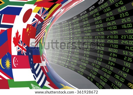 Flags of main countries in the world with a large display of daily stock market price and quotations during economic booming period. The fate and mystery of world stock market, tunnel/corridor concept - stock photo