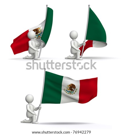 flags of Mexico waving in the wind - stock photo