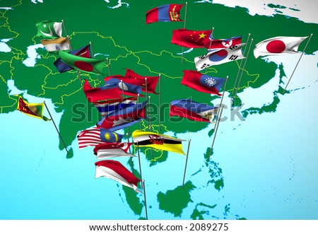Flags of nations of South and East Asia flying at their capital cities (Southeast view) - stock photo