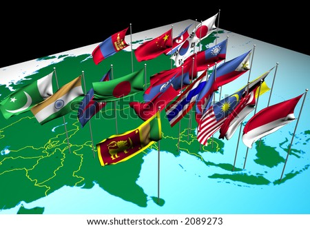 Flags of nations of South and East Asia flying at their capital cities (Southwest view) - stock photo