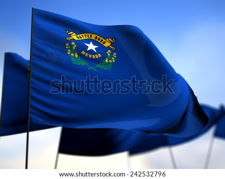 flags of Nevada on blue sky background